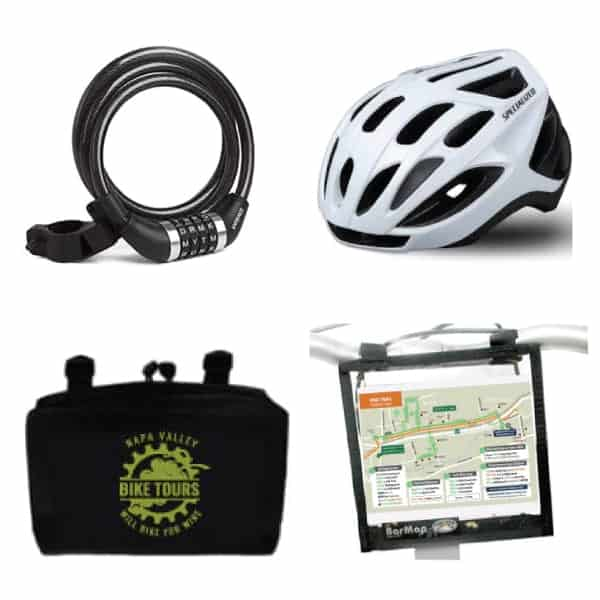 A cable bike lock, bicycle helmet, handlebar bag and map holder