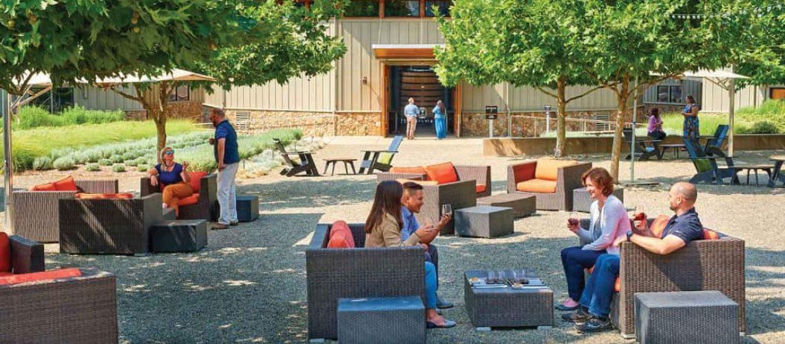 Outdoor tasting patio at Paraduxx winery