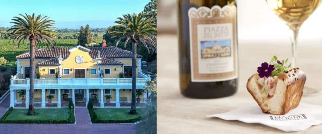Piazza Del Dotto winery features Napa Valley food and wine pairing experiences