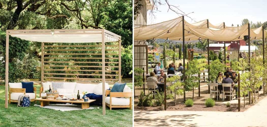 Private outdoor cabana tasting area at Domaine Chandon winery; outdoor patio seating at Farmstead restaurant