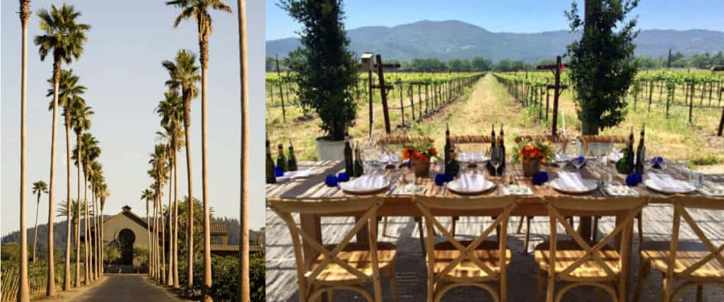 A food and wine pairing at Round Pond Estate winery in Napa Valley