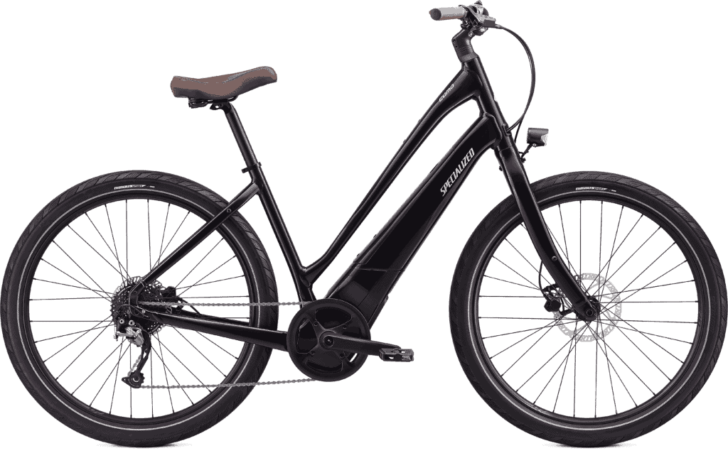 A glossy black electric bike available for rent at Napa Valley Bike Tours